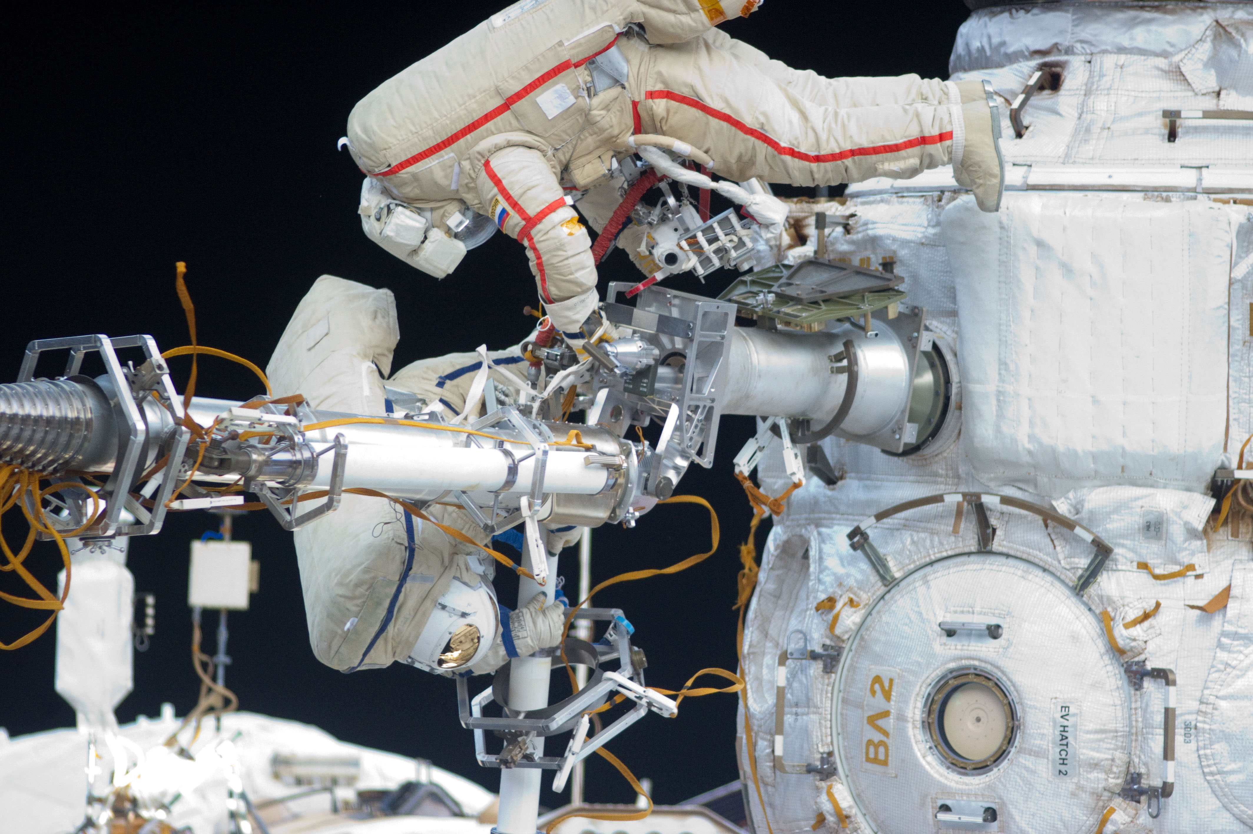 Cosmonauts Spacewalk on the ISS