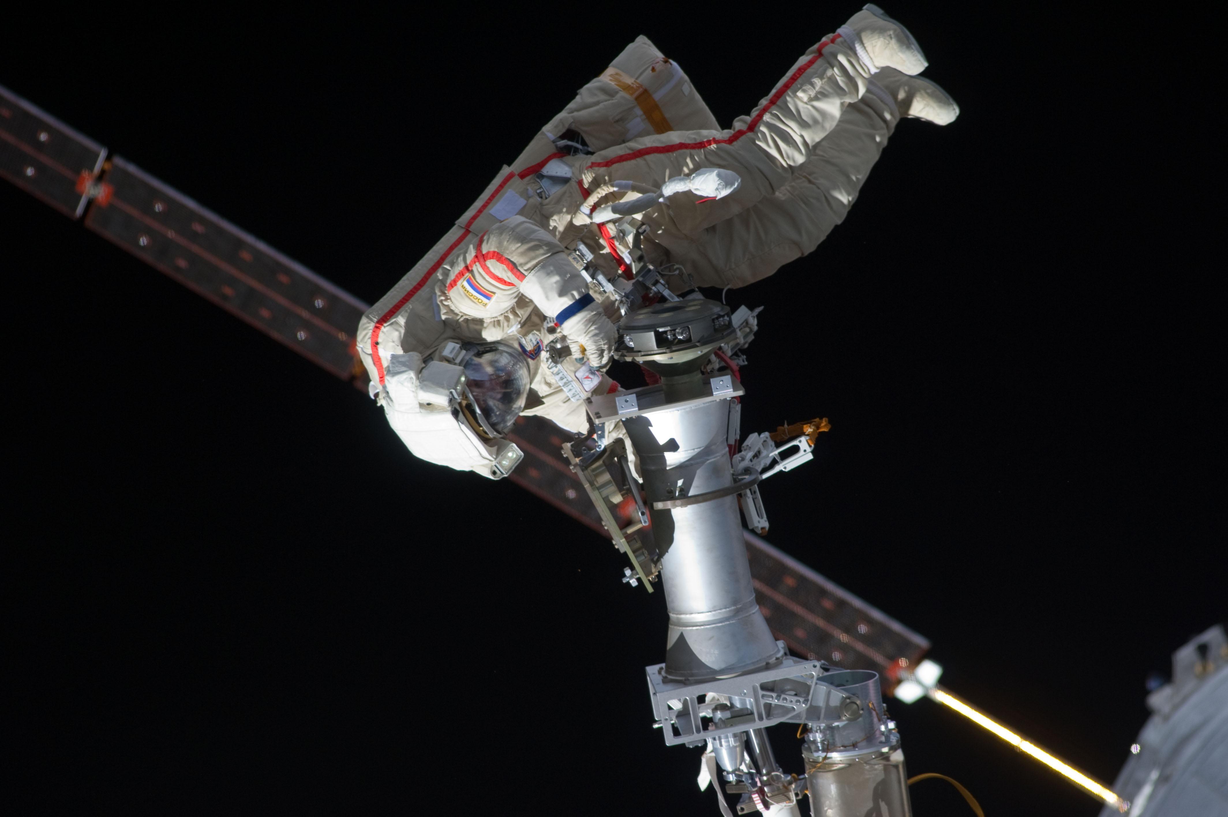 Russian Cosmonaut Gennady Padalka Floating Diagonally