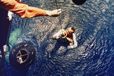 Astronaut Alan B. Shepard is rescued by a U.S. Marine helicopter at the end of his sub-orbital Mercury-Redstone 3 (MR-3) flight May 5, 1961.