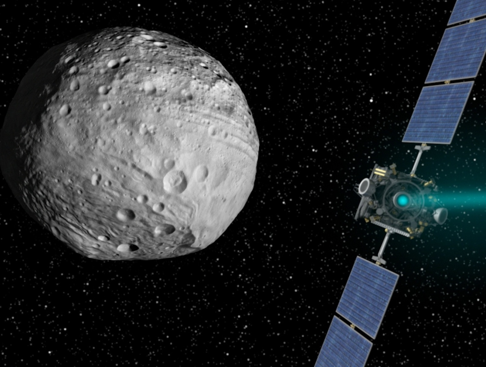 Dawn Set to Leave Protoplanet Vesta 1600