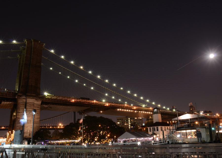 Moon Over the Brooklyn Bridge