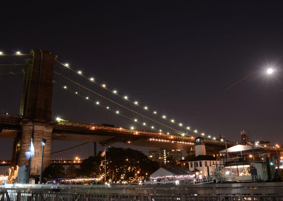 Moon Over the Brooklyn Bridge