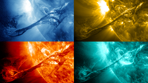 Four images of a filament on the sun from August 31, 2012 are shown here in various wavelengths of light as captured by NASA's Solar Dynamics Observatory (SDO). Starting from the upper left and going clockwise they represent light in the: 335, 171, 304 and 131 Angstrom wavelengths.