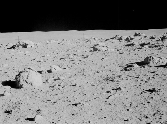 Apollo 14 commander Alan Shepard photographed this overall view of a field of boulders on the flank of Cone Crater during the second extravehicular activity (EVA) on the lunar surface.