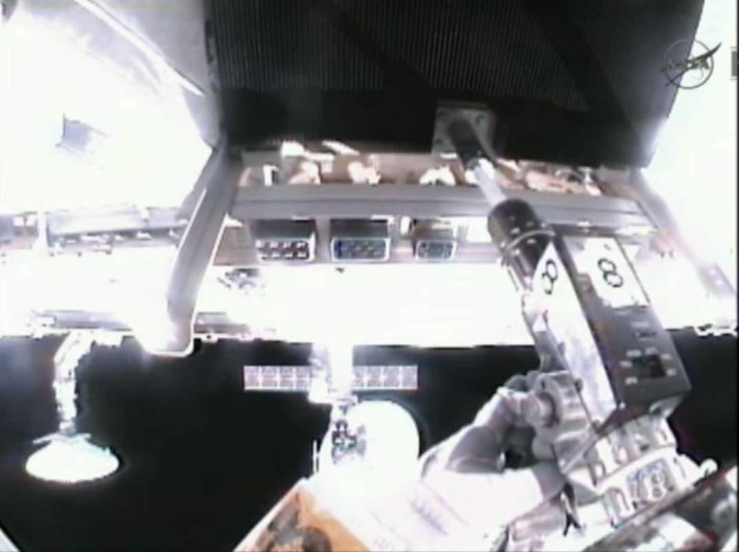 Spacewalker Akihiko Hoshide's Helmet View