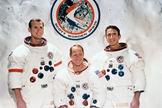 The Apollo 15 crew: David R. Scott, commander; Alfred M. Worden, command module pilot; and James B. Irwin, lunar module pilot.