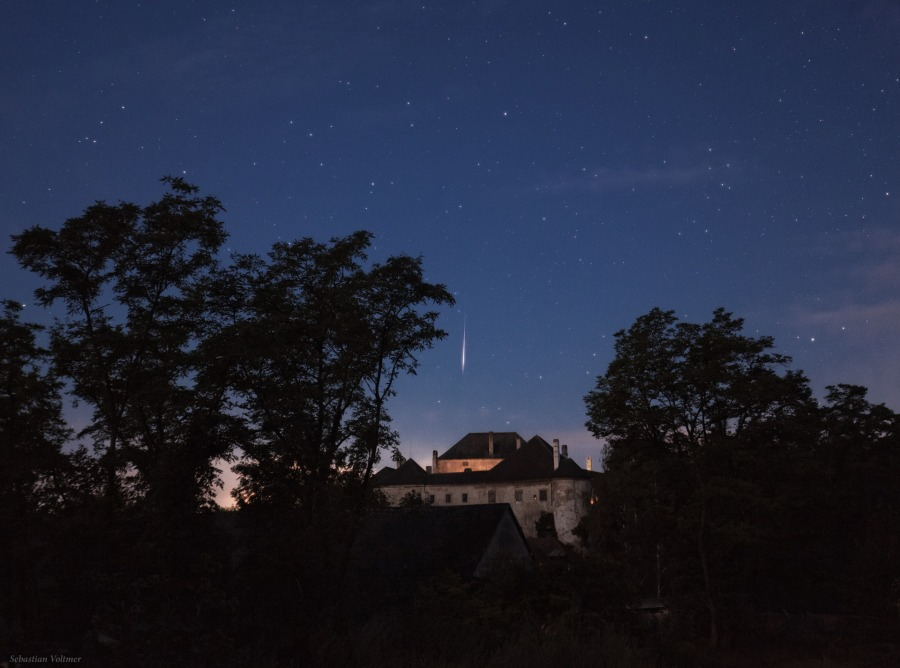 Perseid Meteor Streaks Over Medieval Castle in Picturesque Photo