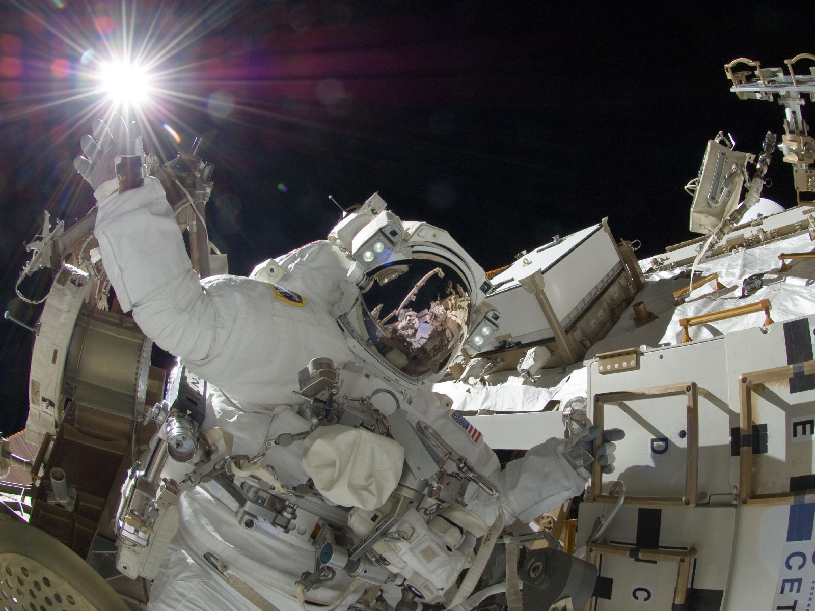 Spacewalking Sunita Williams Touches the Sun