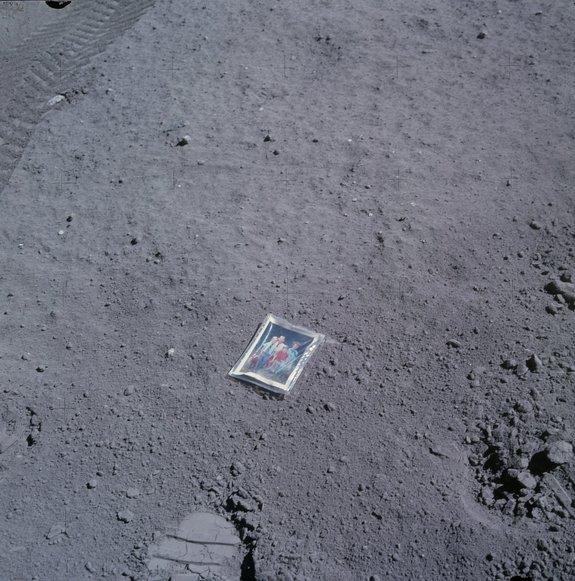 Apollo 16 lunar module pilot Charles M. Duke Jr. left this photo of his family on the surface of the moon.