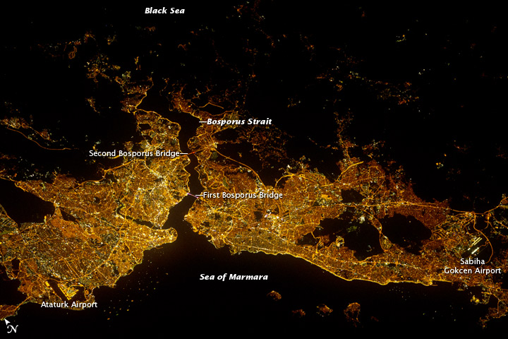 Istanbul Glows at Night in Astronaut Photo