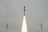 India launches its 100th space mission on Sept. 9, 2012, with the successful flight of this Polar Satellite Launch Vehicle carrying the Spot 6 communications satellite and Proiteres amateur radio satellite. The mission launched from India's Satish Dhawan Space Centre on Sriharikota Island.