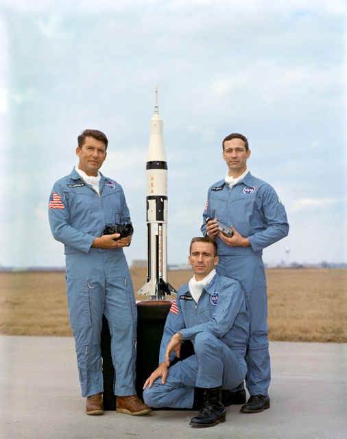 Apollo 7 crew members, left to right: Walter M. Schirra Jr., commander; Walter Cunningham, lunar module pilot; and Donn F. Eisele, command module pilot.