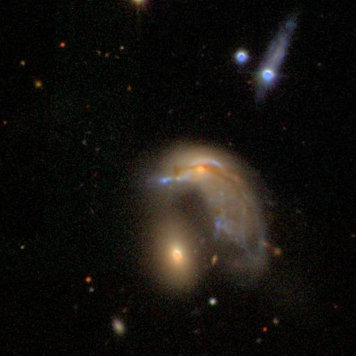 Volunteers with the online Galaxy Zoo project spotted a galaxy that looks like a penguin.
