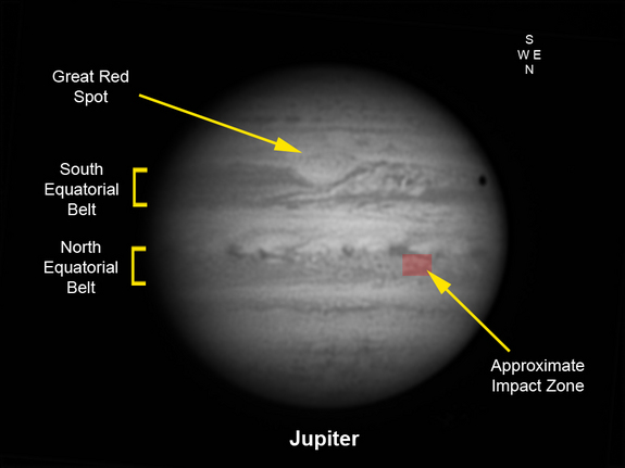 This graphic of Jupiter by UK astronomer Pete Lawrence shows the location of the Jupiter impact region from Sept. 12, 2012, as seen through an inverting astronomical telescope. The impact site is located at longitude system II 335, latitude +12.