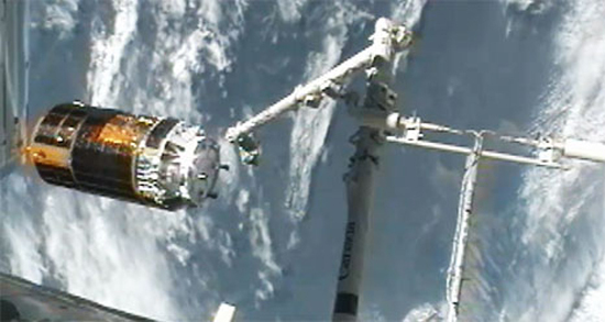 Japan's HTV-3 robotic cargo ship leaves the International Space Station on Sept. 12, 2012, after being released from the station's robotic arm. Astronauts inside the station used the arm to detach the HTV-3 cargo ship from the station and set it free in space to end its mission.