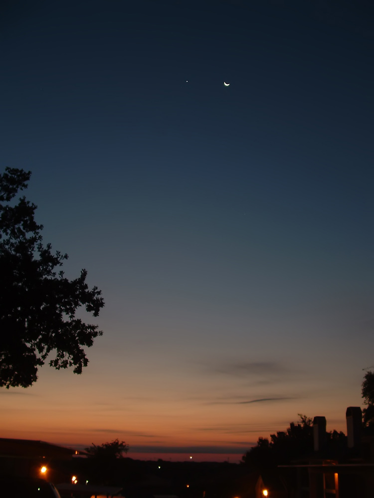 The Moon and Venus over Bedford, TX
