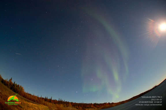 """The Canadian Space Agency's AuroraMAX observatory tweeted this photo and wrote: """"Latest image of aurora borealis above Yellowknife, taken at 01:08 MDT on September 01, 2012."""""""