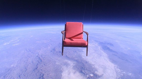 "JP Aerospace balloons toted armchairs, including this one, to the edge of space in 2009 for Toshiba's ""Space Chair Project"" commercial."