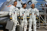 The crew of the Apollo 10 space mission. Left to right are Eugene A. Cernan, lunar module pilot; John W. Young, command module pilot; and Thomas P. Stafford, commander.