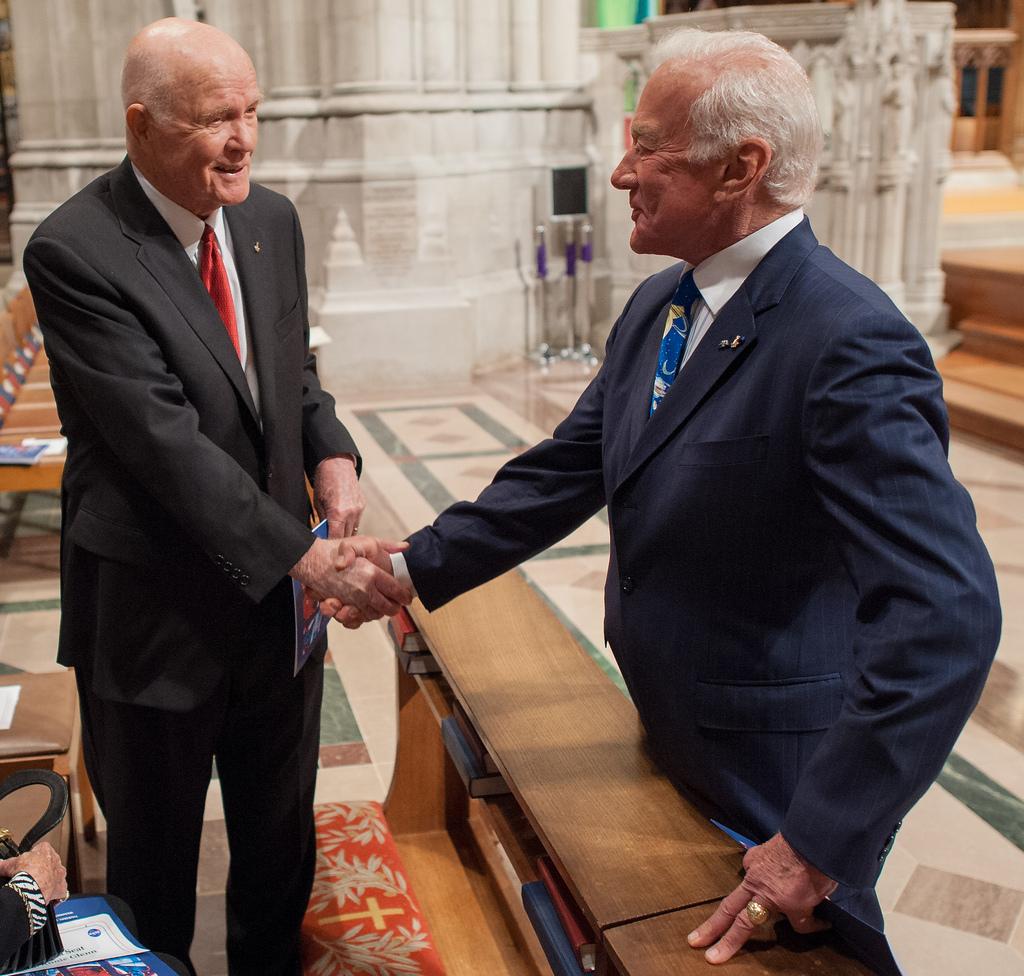 Former U.S. Sen. John Glenn and Buzz Aldrin