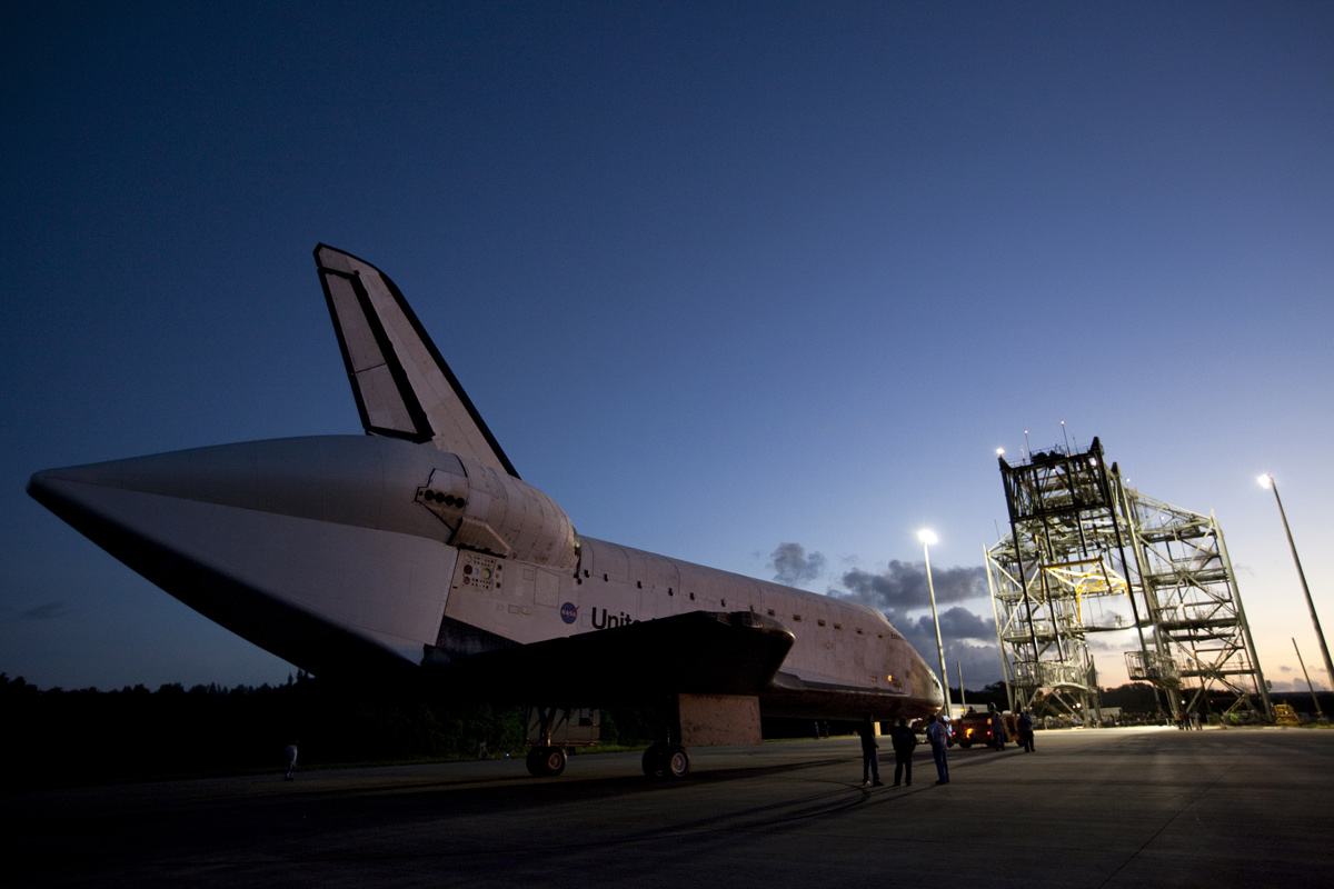 Workers Watch Endeavour Being Towed