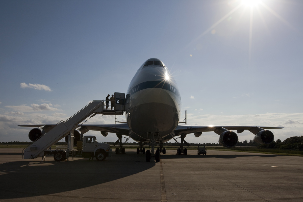 Shuttle Carrier Aircraft Backlit by Bright Sun
