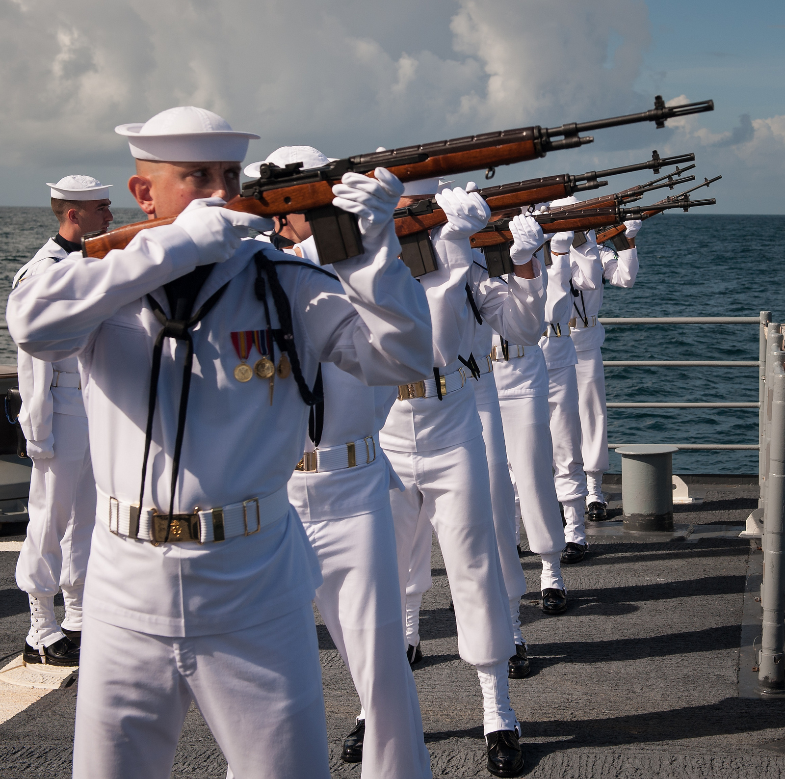 Neil Armstrong Buried at Sea: Rifle Salute