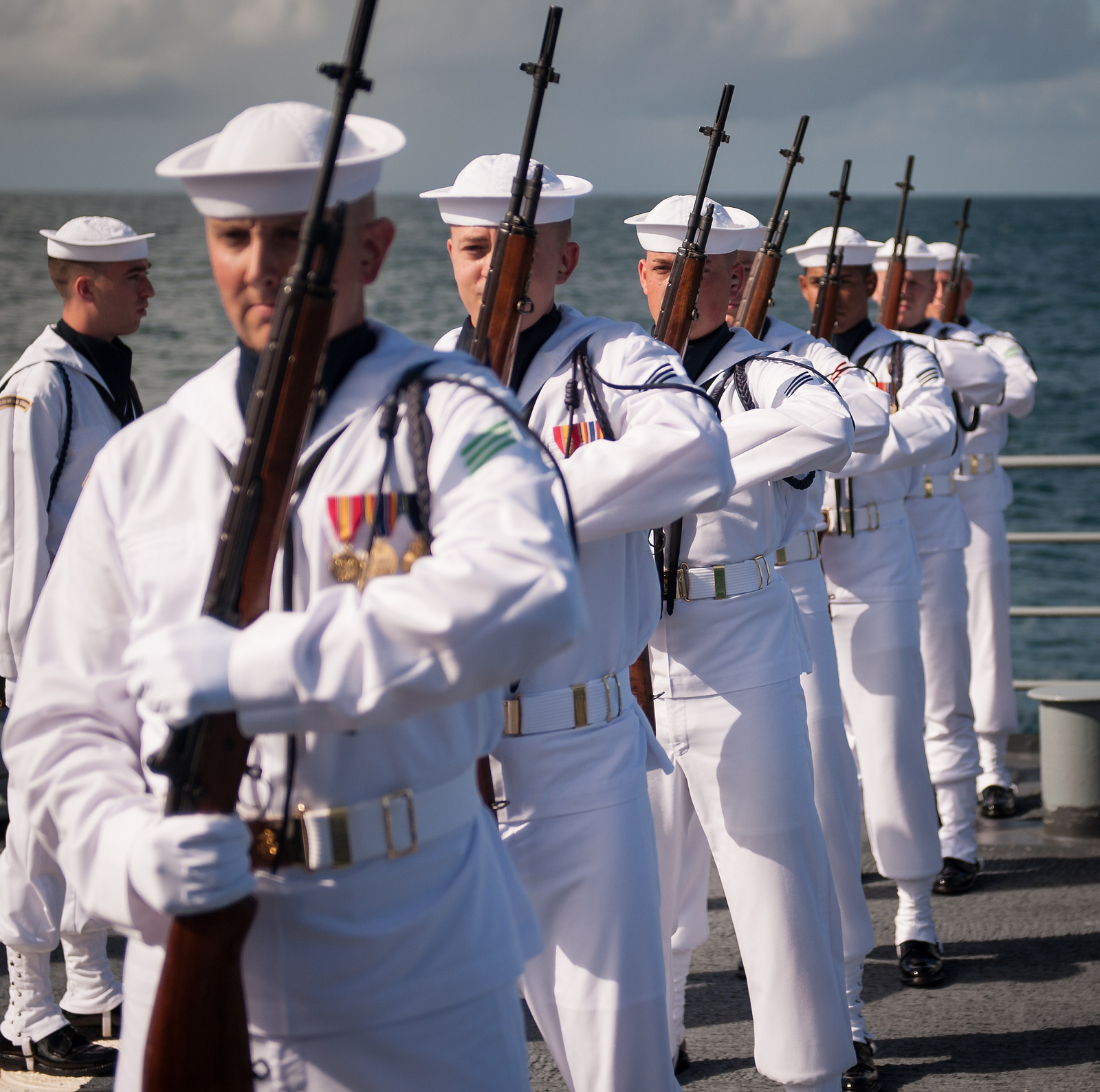 Neil Armstrong Burial at Sea: Rifle Guard