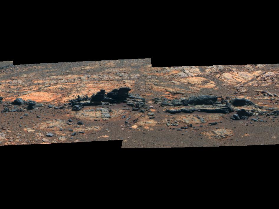 Opportunity Eyes Rock Fins on Cape York, Sol 3058 (False Color)