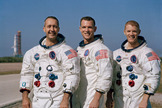 The crew of Apollo 9, left to right: James A. McDivitt, commander; David R. Scott, command module pilot; and Russell L. Schweickart, lunar module pilot.