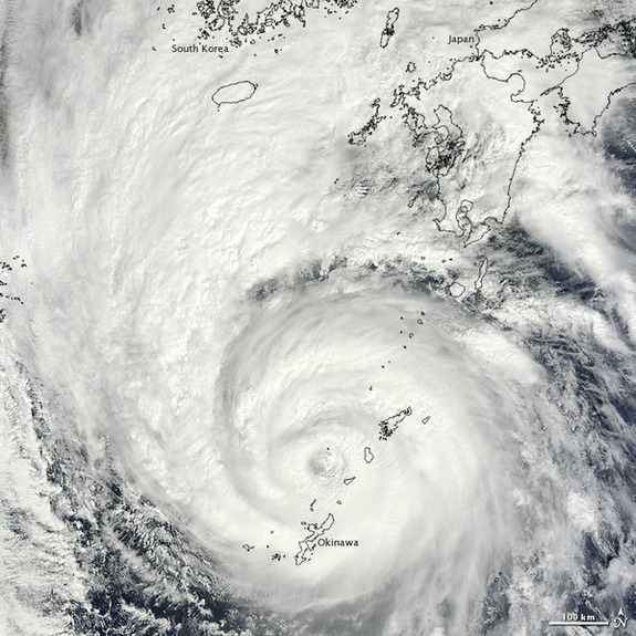 NASA's Terra satellite captured this image of Typhoon Sanba when it struck Japan yesterday (Sept. 16), boasting winds of up to 127 mph (205 mph).