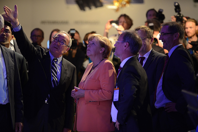 German Chancellor Angela Merkel Visits the Exhibition
