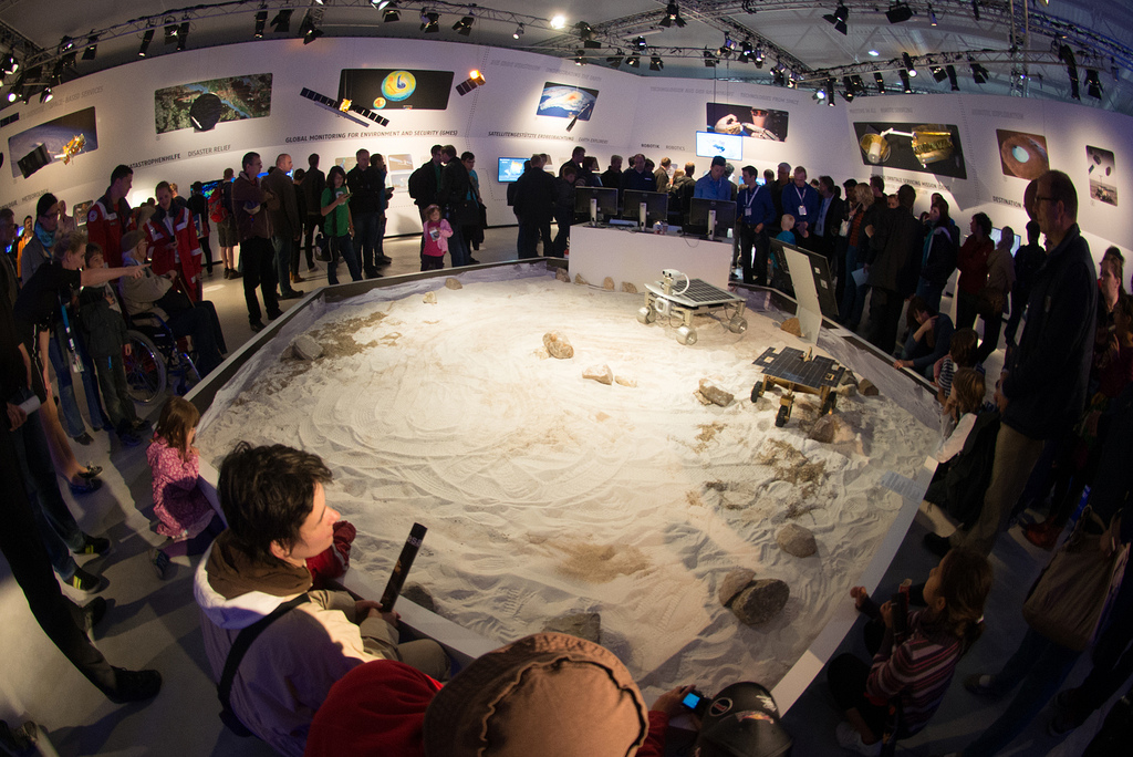 Public visiting the 'Space for Earth' Space Pavilion