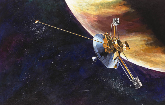 An artist's depiction of Pioneer 10 approaching Jupiter.