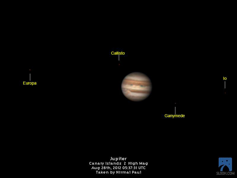 Jupiter and Four Moons by Slooh Space Camera