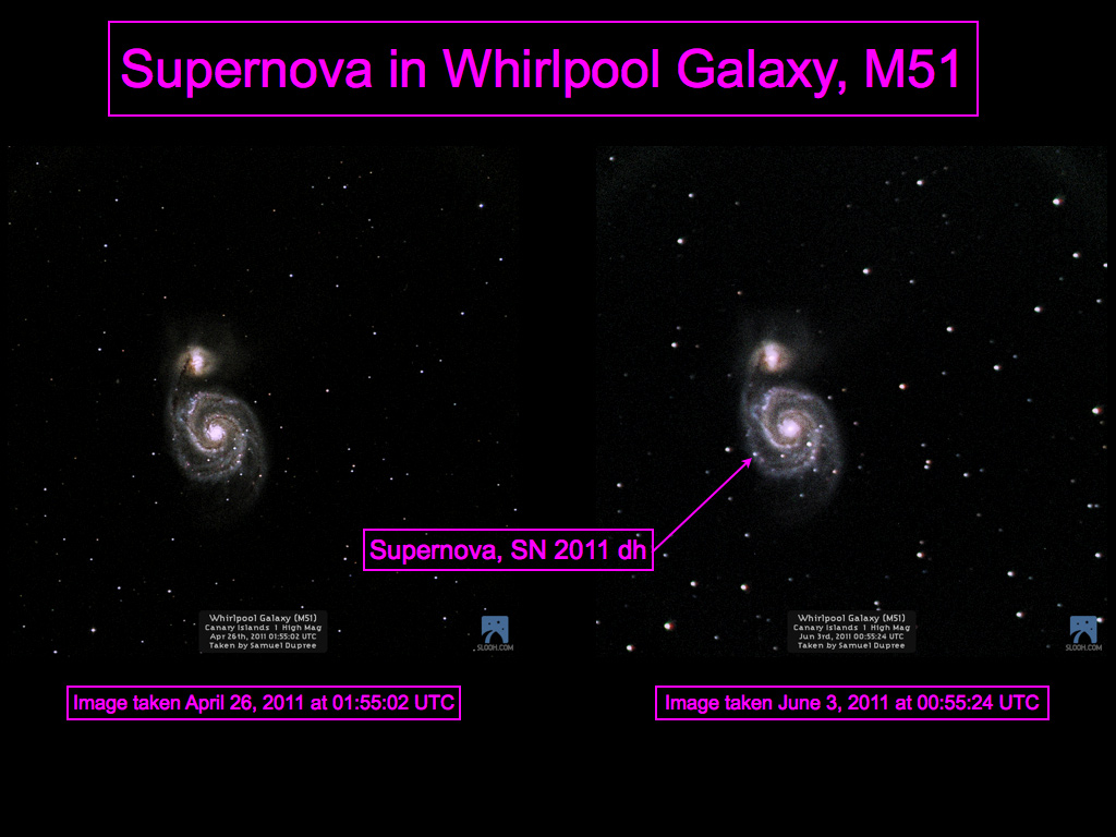 Supernova in Whirlpool Galaxy, M51 by Slooh Space Camera