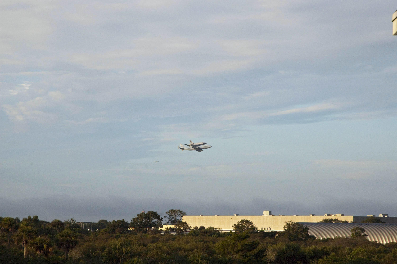 Endeavour Flies Over Rocket Facility