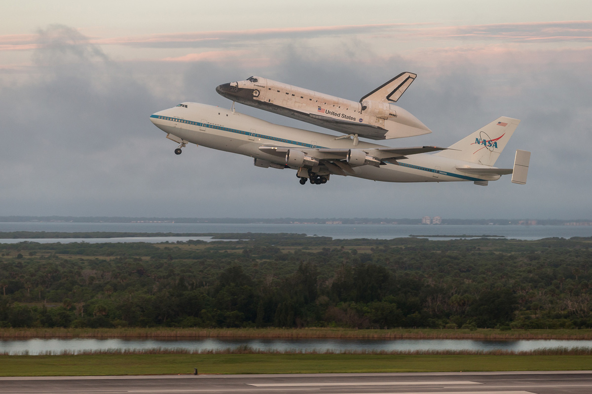 Shuttle Carrier Aircraft Takes Off with Endeavour