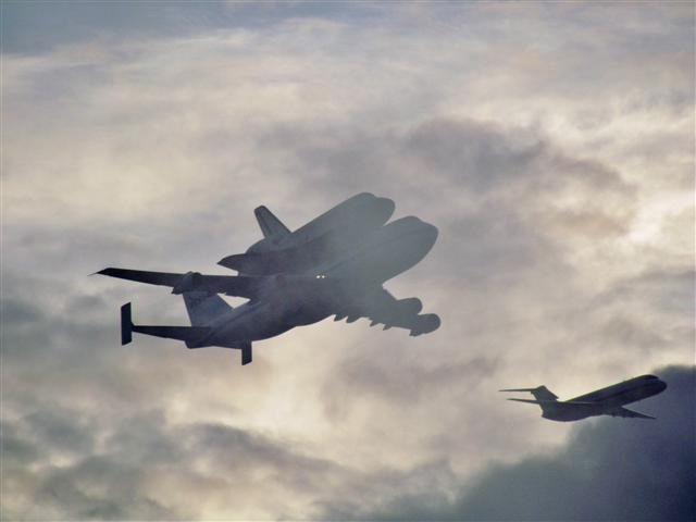 Endeavour Flying with Chase Plane