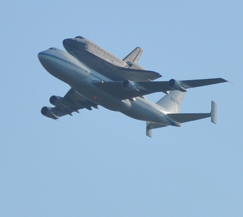 Endeavour over Stennis Space Center