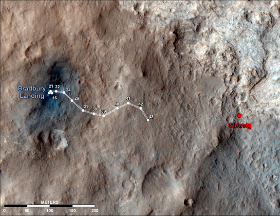 This map shows the route driven by NASA's Mars rover Curiosity through the 43rd Martian day, or sol, of the rover's mission on Mars (Sept. 19, 2012). By Sol 43, Curiosity had driven at total of about 950 feet (290 meters).