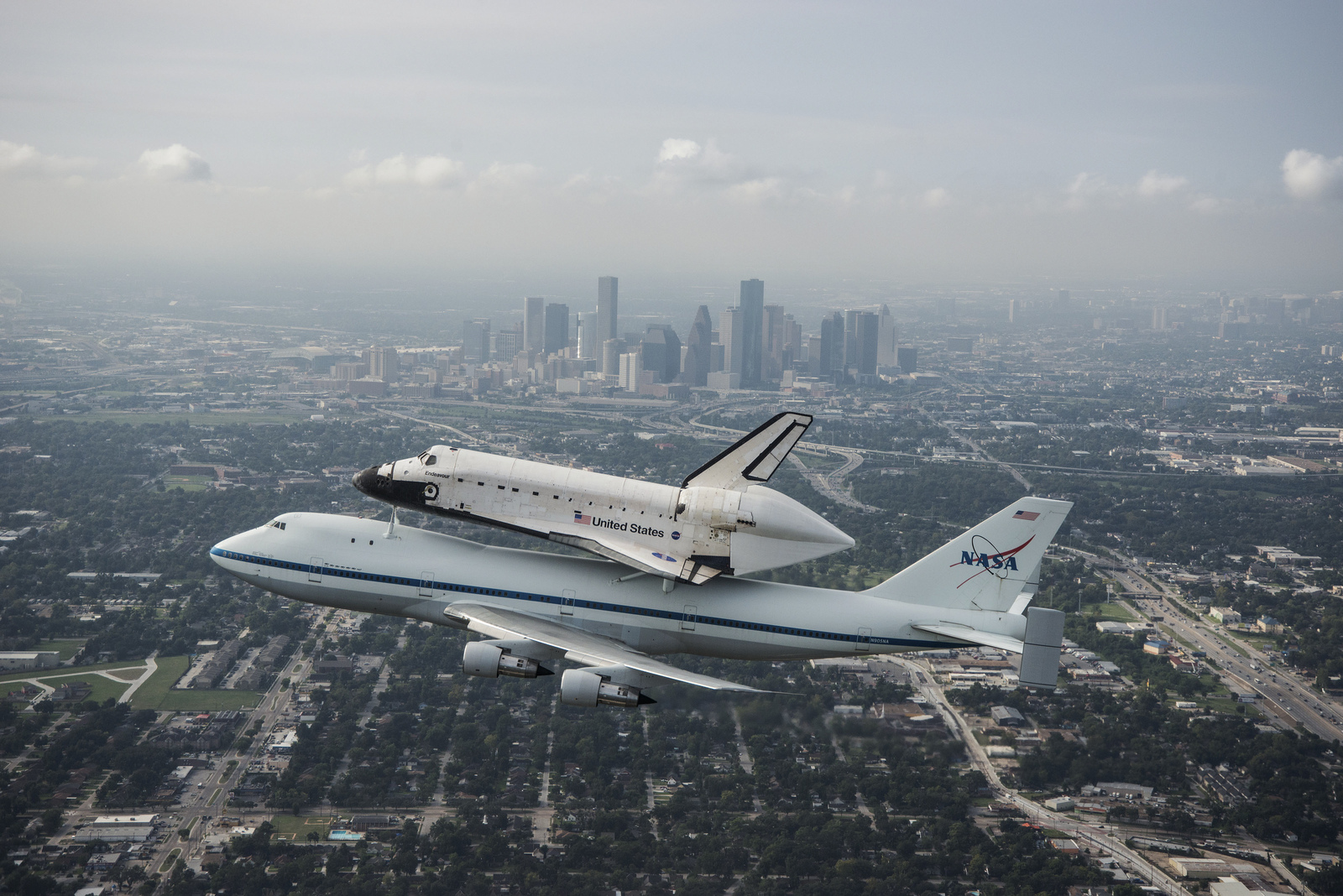 Space Shuttle Endeavour Over Houston