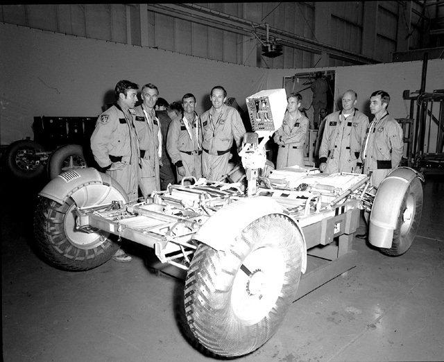 Space History Photo: Lunar Roving Vehicle Test Unit with Astronauts