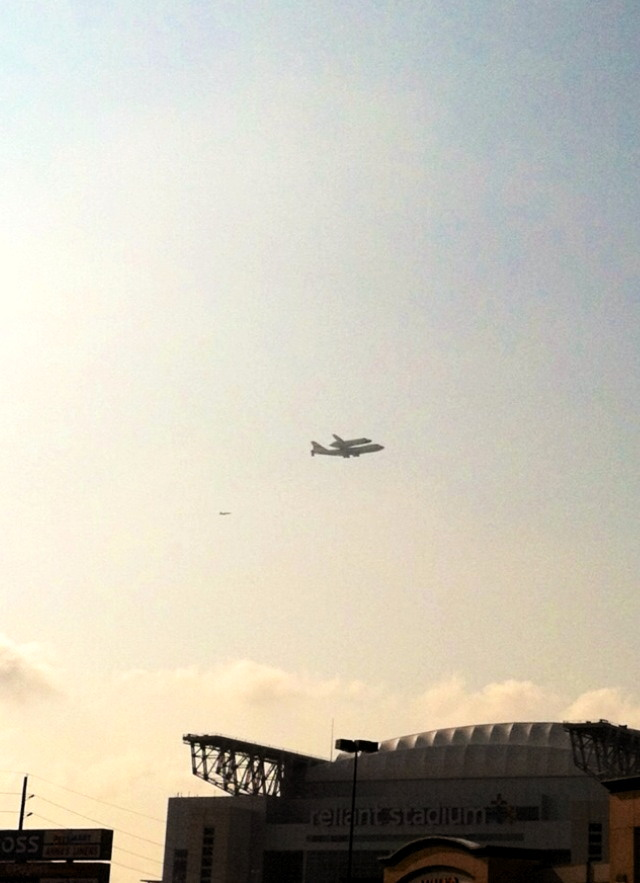 Shuttle Endeavour over Reliant Stadium, Houston, TX