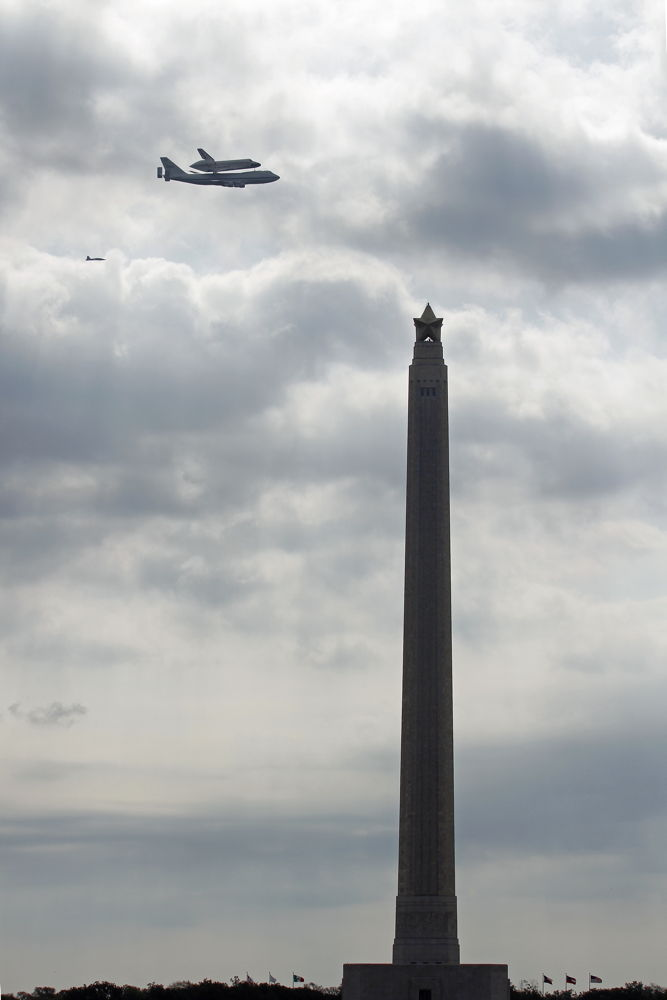 Shuttle Endeavour Flying by San Jacinto Monument