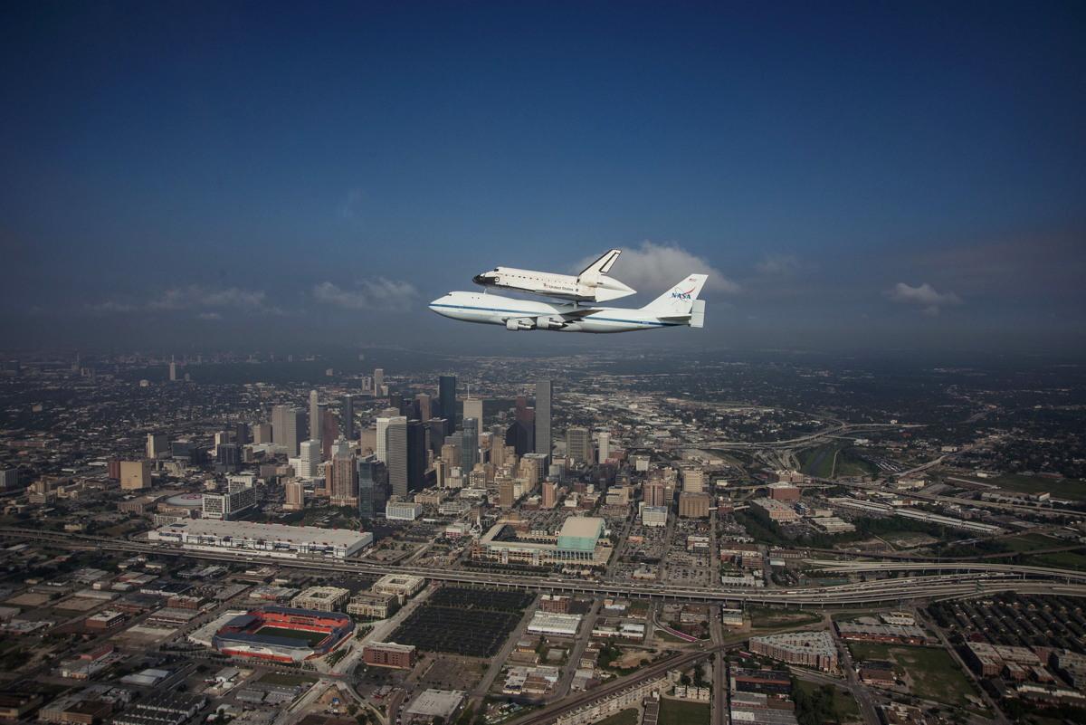 Endeavour over Houston Skyline