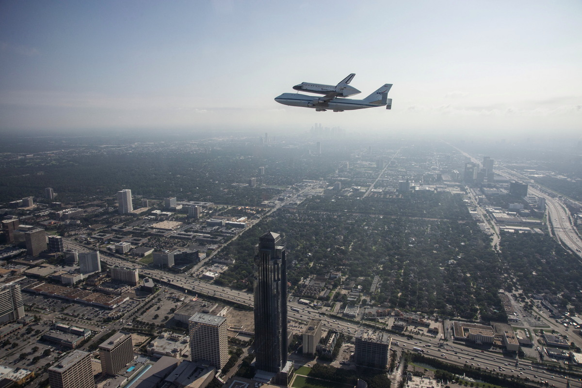 Endeavour over Houston Haze