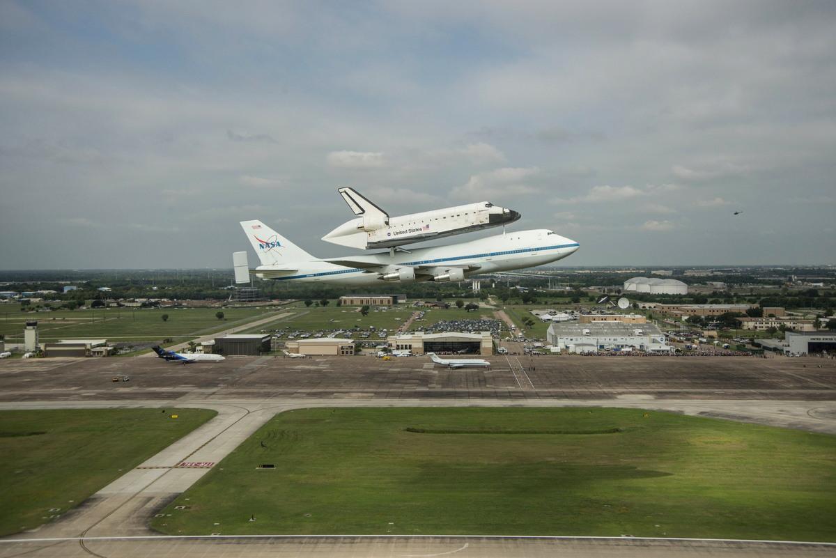 Endeavour over Ellington Field, Houston, TX