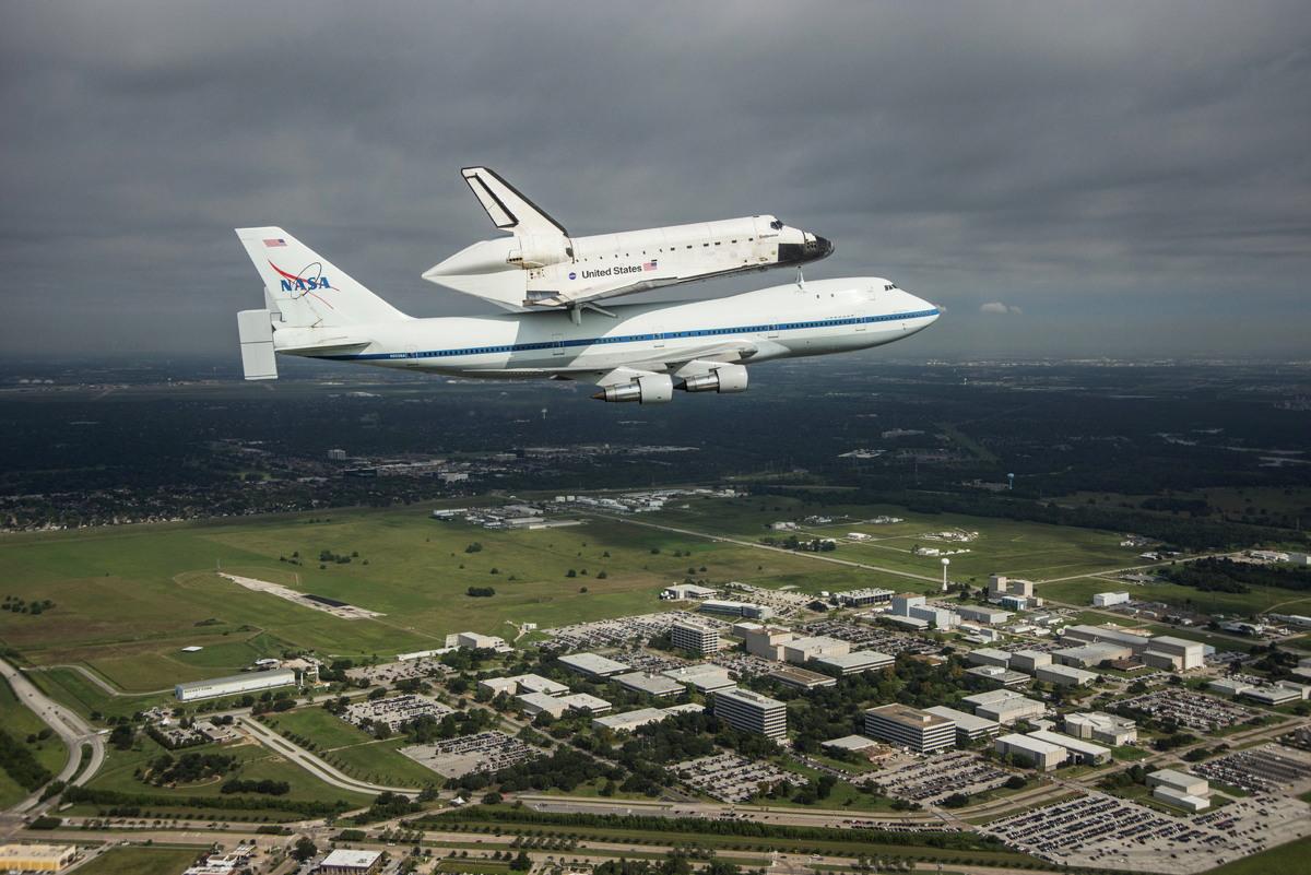 Endeavour over Johnson Space Center, Houston, TX