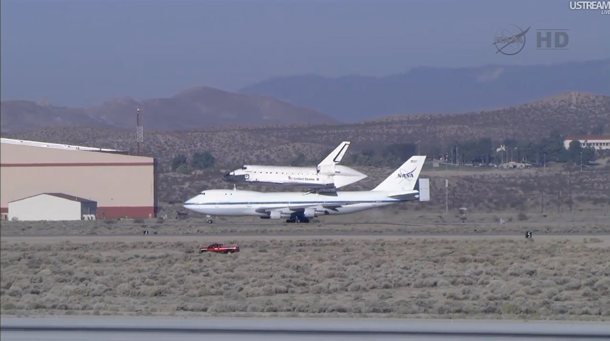 Endeavour Taxis atop Shuttle Carrier Aircraft